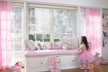 Daughter in Pink Curtain Bedroom